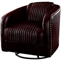 Homelegance Moderne Modern Swivel Club Chair with Nailhead Trim, Brown