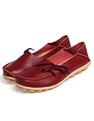 American Trends Women's Leather Lace-Up Shoes Loafers Slipper Flat Pumps Slip-On
