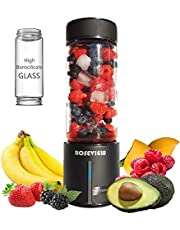 ROSEVIEW Portable Smoothie blender 450ml High Borosilicate Heat resist Glass bottle Mini rechargeable Handheld Ice crushing Shakes Cup USB juicer Cordless Personal smoothies maker Fruit mixer Juice sport travel healthy smoothy (Black)