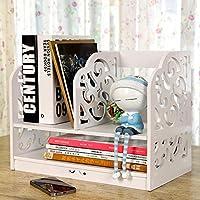 Riipoo Book Shelf, PVC Desk Bookshelf, 2-tier Bookcase, Folder File Shelf, Simple Assembly Rack Storage Organizer Holder for Folder, Books, Magazine and Others (White)