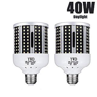 LED Corn Light Bulb 40W (280W Equivalent 6500K) Cool Daylight White Led Garage Bulb for Indoor Warehouse Backyard E26/E27 Medium Base 85V-265V (2Pack)