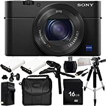 Sony DSC-RX100M IV DSC-RX100 Mark IV DSC-RX100M4 Cybershot Digital Still Camera 16GB Bundle 12PC Accessory Kit Includes 16GB Memory Card + High Speed Memory Card Reader + 2 Replacement NP-BX1 Batteries + MORE