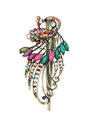 MagiDeal Vintage Crystal Peacock Hair Clips Retro Rhinestone Hairpins Hair Jewelry