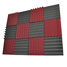 Seismic Audio - SA-FMDM2-Burgundy-Black-6Each - 12 Pack of 2 Inch Charcoal / Burgundy Studio Acoustic Soundproof Foam Sheets - Noise Cancelling Foam Sound Dampening Wedge Tiles