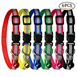 wotu 6 Pcs Cat Collars, Adjustable Reflective Dog Collars for Quick Release Safety Quick Release Buckle with Bell
