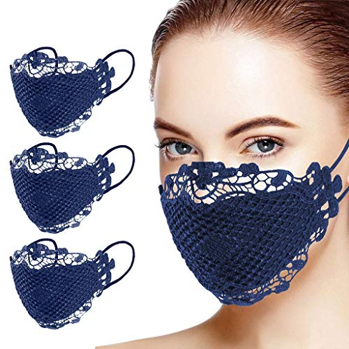 LuminitA 3PC Fashionable,Reusable, Washable Facial Lace Face Bandanas for Women
