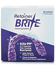 Retainer Brite Cleaning tablets, for removable appliances including clear retainers, clear aligners, mouthguards, nightguards, TMJ appliances & wire retainers. 36 tablets. by Retainer Brite