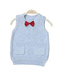 Boy's Girl's Knitted Round Neck Sweaters Vests Pullovers Waistcoat with Necktie