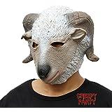 CreepyParty Deluxe Novelty Halloween Costume Party Latex Animal Head Mask Goat