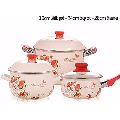 XiangYan Enamel Pot Set Steamer Stew Pot Milk Pot Optional Size Gas Cooker Induction Cooker Universal 16cm 24cm 28cm