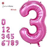 Amooy DiZi Large Number 3 Balloons Pink Helium Big Foil Mylar Balloons Birthday Party Decorations Wedding Decor 40 Inch