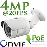 USG 4MP (25921520) H.265 Ultra HD IP PoE Network Bullet Security Camera 4MP 3.6mm Wide Angle Lens ONVIF 2.4 Outdoor/Indoor IP66 Weatherproof Vandalproof 14x 14μ IR LEDs Free Phone App