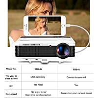 2017 LCD 1080p Smartphone HD Projector Wired Sync with iPhone,iPad via USB Cable 3600 Lumen WXGA LED Home Video Projector Multimedia HDMI Screen Cast for Inside Outside Entertainment Games Movies