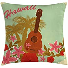 Vintage Hawaii Throw Pillow Cushion Cover by Lunarable, Soft Colored Poster Design Musical Instrument Hibiscus and Tropical Flowers, Decorative Square Accent Pillow Case, 18 X 18 Inches, Multicolor