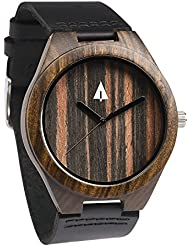 Treehut Mens Black Ebony Wooden Watch with Genuine Black Leather Strap Quartz...