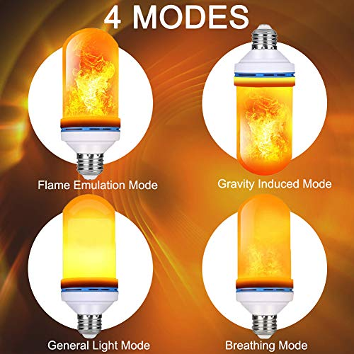 IOO LED Flame Effect Fire Light Bulbs E26 with Upside Down Effect Simulated Decorative Light 4 Modes Atmosphere Lighting Vintage Flaming Holiday Lights Christmas Decoration (2 Pack)