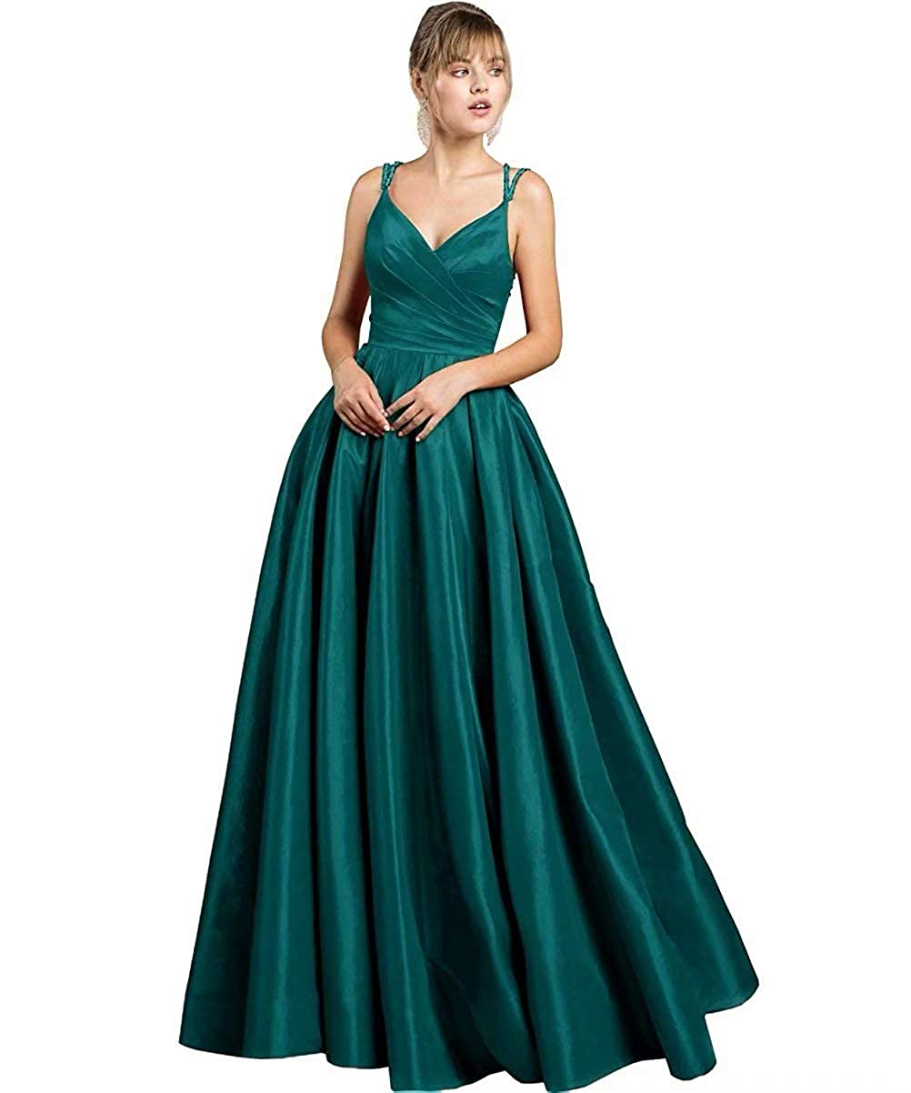 Teal Green JYDX Women's Beaded Spaghetti Straps V Neck Satin A Line Evening Prom Dress Long Formal Gown with Pockets