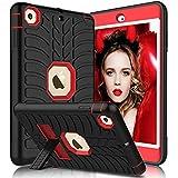 iPad Mini Case, iPad Mini 2 Case, iPad Mini 3 Case, iPad Mini Retina Case, Elegant Choise Heavy Duty Three Layer Armor Defender Protective Case Cover with Kickstand for iPad Mini 1/2/3 (Red+Black)