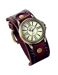 Lancardo Vintage Leather Bracelet Watch With Antique Brass Bronze Tone Bezel(Brown)