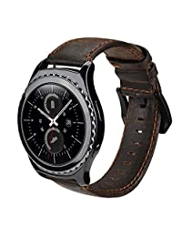 Gear S2 Classic Smart Watch Band, SSBRIGHT 20mm Premium Soft Genuine Leather Strap Replacement Band For Samsung Gear S2 Classic SM-R732 / R735 Version (Coffee)