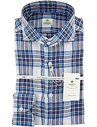 New Luigi Borrelli Blue Plaid Extra Slim Shirt