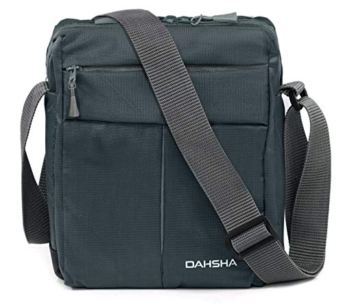 DAHSHA Nylon Cross Body Messenger Sling Bag Travel Office Business Messenger one Side Shoulder Bag for Men Women (Grey, 20 X 9 x 26 cm)
