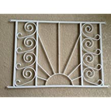 "Designer Style Screen Door Grille, Screen Door Pet Guard, By All Weather, Aluminum, ""Empire Sun Style"" Model Design, 34"" X 22 1/2"" Protective, Decorative, Handcrafted, Powder Coated Finish (Bronze)"