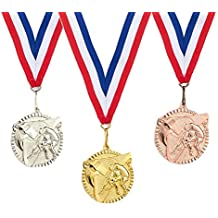 3-Piece Award Medals Set - Gold, Silver, Bronze Medals for Sports, Competitions, Party Favors