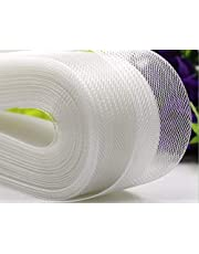 Teemico 50 Yards Stiff Polyester Horsehair Braid for Polyester Boning Sewing Wedding Dress Dance Formal Dress Accessories (White, 2 inch)