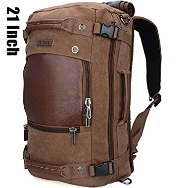 Witzman Men's Vintage Canvas Duffel Shoulder Backpack Travel A2020 (21 inch Brown)