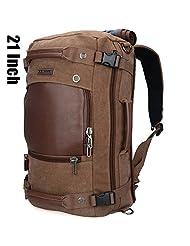 Doleesune Witzman Men's Vintage Duffel Bags for Men Canvas Shoulder Outdoor Travel Backpack A2021 (Brown)