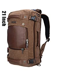 Canvas Backpacks Witzman Mens Duffel Leather Hiking Casual Travel Rucksacks