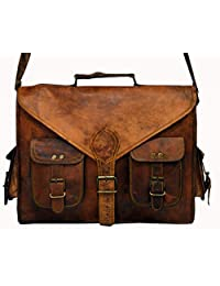 HLC ABB 18 Inch Vintage Handmade Leather Messenger Bag for Laptop Briefcase Satchel Bag