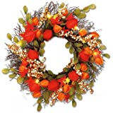 "Lighted Lantern Flower Autumn Wreath - 17"" diameter Fabric Flower Wreath, Rattan Base"