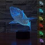 3D Shark Vivid Effect Novelty Light 7 Colors Changing Table Desk Deco Lamp Bedroom Children Room Decorative Night Panel Light USB Powered for Kids