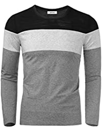 "<span class=""a-offscreen"">[Sponsored]</span>Men's Casual Knit Crewneck Color Block Patchwork T-Shirt Top"