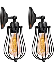 Wire Cage Wall Sconce Edison Vintage Style Industrial Metal Cage Wall Light Fixture for Headboard Bedroom Farmhouse Garage Barn Door Porch 2 Pack