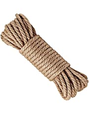 Hemp Rope,6mm Thick Jute Rope,Natural Strong Hemp Rope Cord Jute Twine for Arts Crafts DIY Decoration Gift Wrapping Garden, Boating, Pets,Multi-Purpose Utility Hemp Twine Rope (Pack 1, 30 (96 FT))