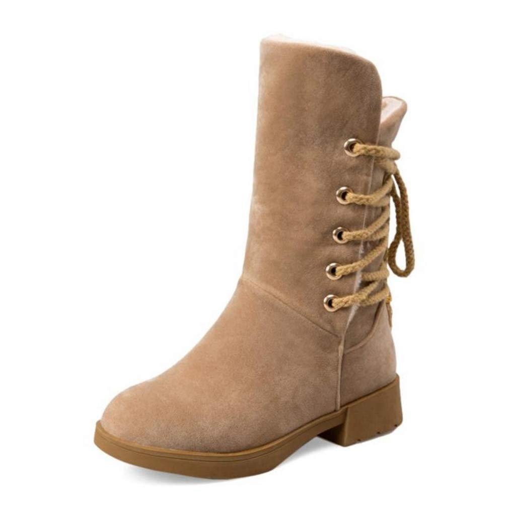 Ivory T-JULY Snow Boots Women Cross Strap Round Toe Warm Winter shoes Women Mid Calf Boots Concise Office Lady Footwear Size 33-43