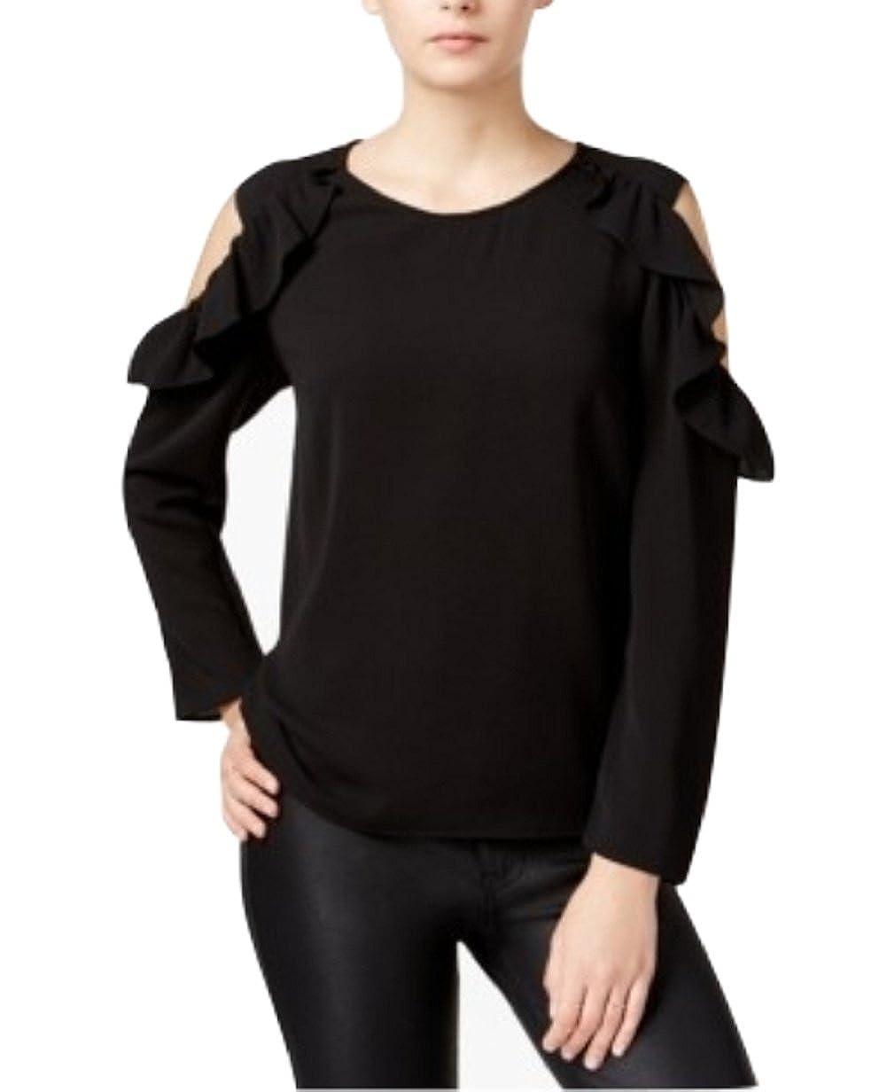 Bar III Ruffled Cold Shoulder Top Fashionable Dress Womens Black Large
