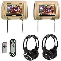 "Rockville RDP711-BG 7"" Beige Car Headrest Monitors w/DVD//HDMI/Games+Headphones"