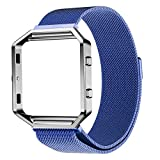 Fitbit Blaze accessories, ABC Luxury Milanese Magnetic Stainless Steel Watch Band + Metal Frame for Fitbit Blaze (Blue )
