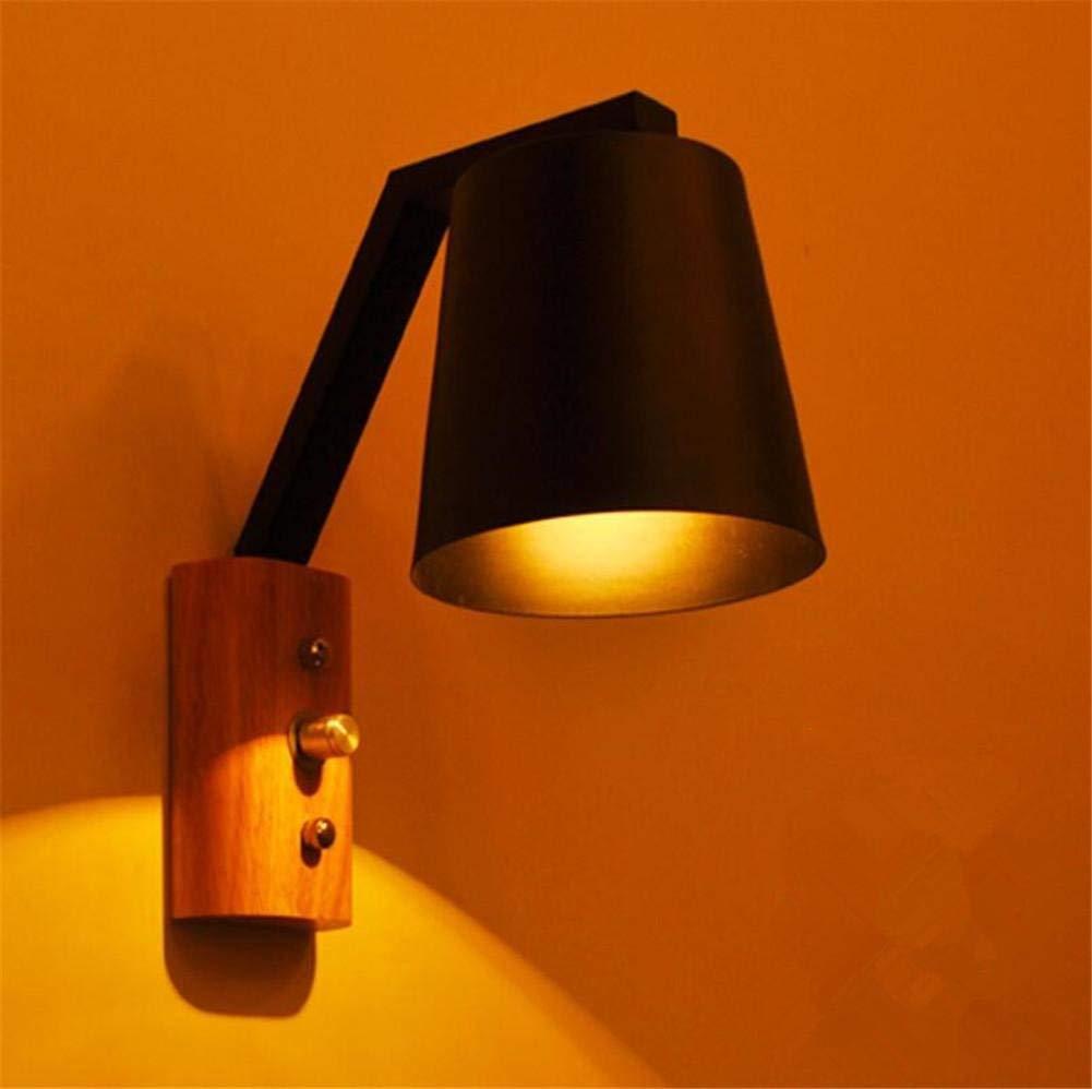 Wandleuchte Wandleuchte Lampe mit Schalter Modern Creative Bett lösen Holz- Eisen Wandleuchte für Wohnzimmer Schlafzimmer Flur Leuchten, EIN