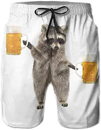 ebe62fc81d617 Mens/Men's Funny Raccoon Wite Beer Summer Beach Shorts Casual Pants  Printing Quick Dry Beach