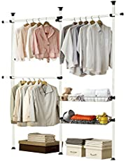 JIAYING Telescopic Garment Rack, Heavy Duty Design Movable DIY by Hand No Damage to Wall Ceiling Hanging Rail, Include 3 Clothes Rail and 2 Storage Nets