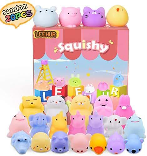 LEEHUR Birthday Party Favors 20pcs Mochi Glitter Squishies Toys Kids Mini Kawaii Animal Moj Moj Squishy Squeeze Adult Stress Reliever School Prizes for Girls Boys