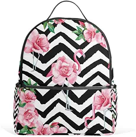 f327effe2a JSTEL Tropic Pink Flamingo And Rose School Backpack 2th 3th 4th Grade for Boys  Teen Girls