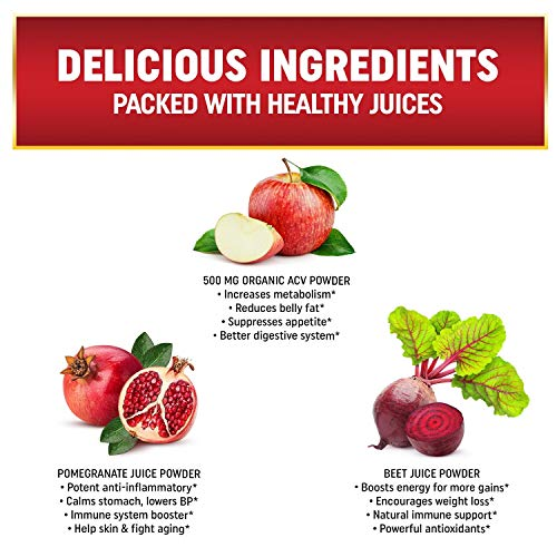 Immunity Organic Apple Cider Vinegar Gummies with The Mother & Iodine. Detox, Cleanse, Thyroid Support, Bloating Relief and Weight Loss with Beet Juice and Pomegranate Juice, 60 Delicious Gummies