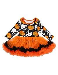 Vinjeely Infant Baby Girls Halloween Tutu Dress Pumpkin Romper 0-24Months