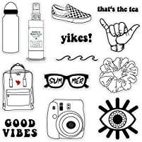 VSCO Vinyl Stickers Aesthetic,Trendy - VSCO Girl Essential Stuff for Water Bottles Stickers Suitable for Photo Sharing,...